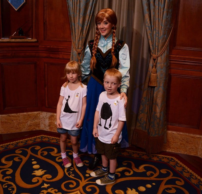 Anna from Frozen with Kids in Walt Disney World