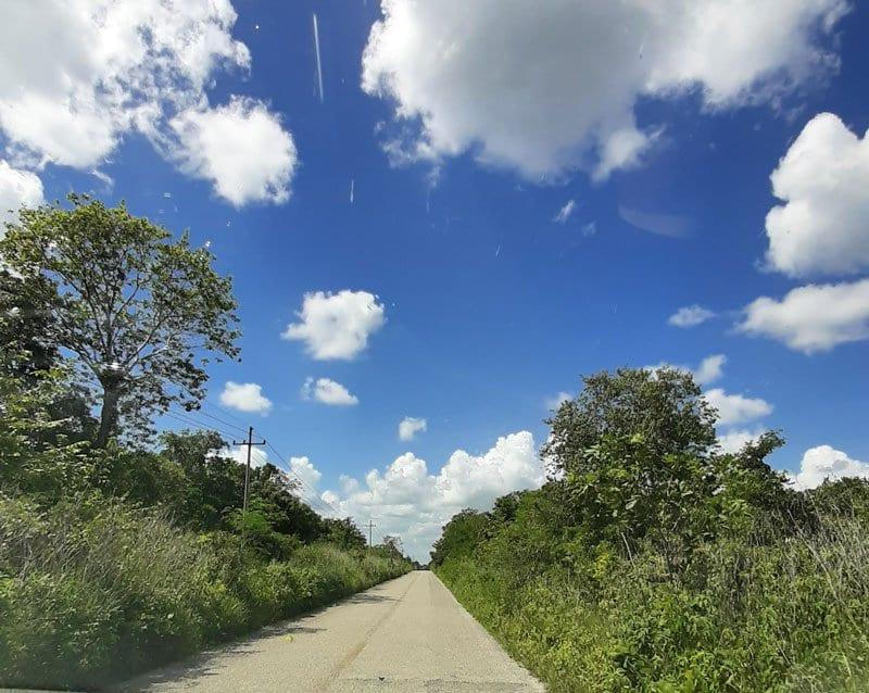 typical none main road in the Yucatan