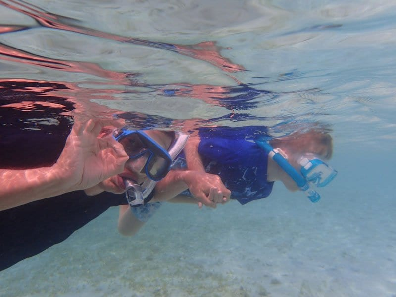 dad and boy snorkelling in the shallows in Mexico
