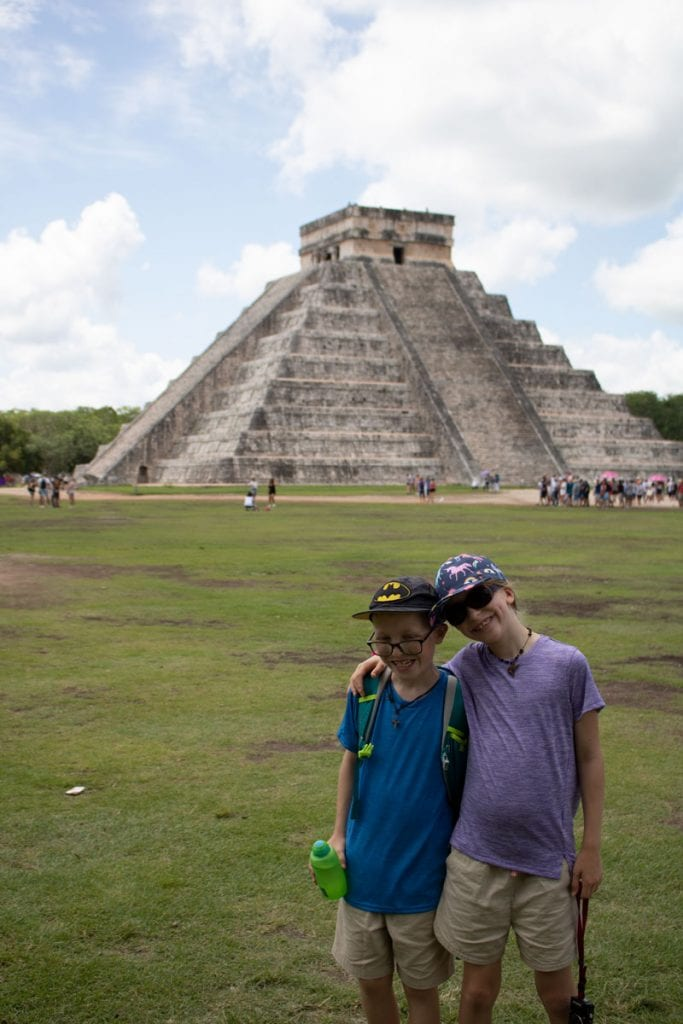 kids at Chichen Itza - arrive early before the crowds