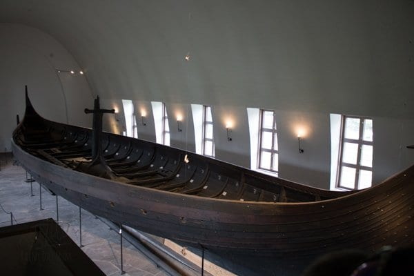 looking down on a viking ship in the museum