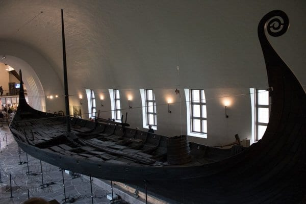 One of the preserved Viking Ships inside the Viking Ship Museum in Oslo