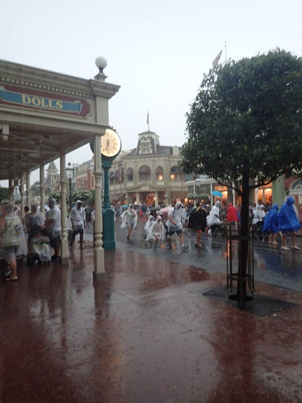 main street in magic kingdom wdw resort in the rain shopping is a great activity to do as the park empties