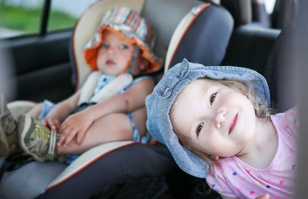 happy toddlers on a road trip
