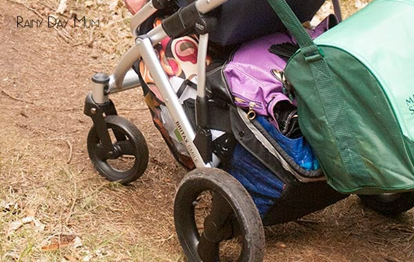 the britax smile in close up showing the huge basket underneath ideal for storing family coats, bags and more