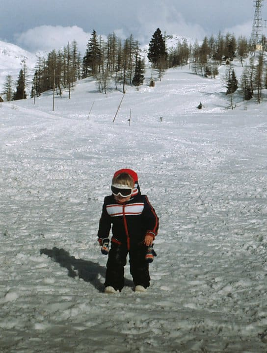 picture of Cerys from Travelled so far skiing in Italy as a child aged around 3 or 4