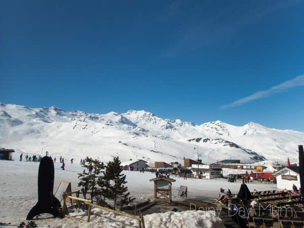 view of val thorens ski area from the town