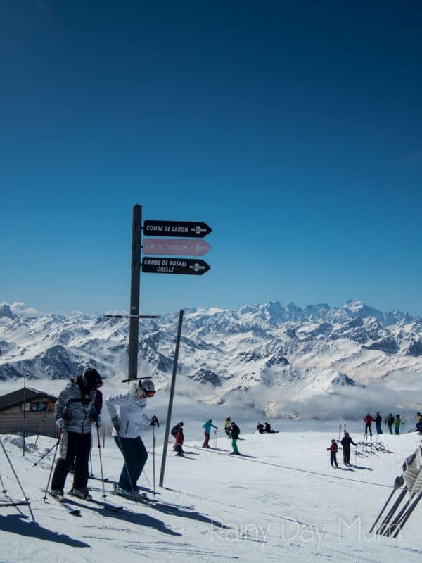 top of Val Thorens with the runs down from the top of the mountain