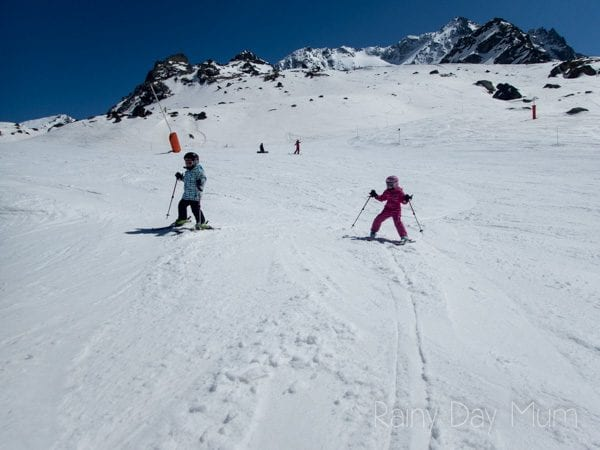 skiing in the spring in Val Thorens france as a family
