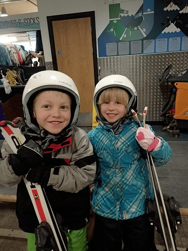 travelled so far kids aged 4 and 6 ready to tackle the slopes