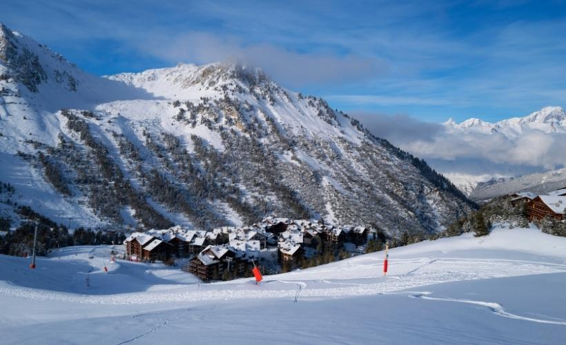looking down on the ski resort of Les Arcs 1950 in the French Alps a fantastic family friendly resort for all to enjoy